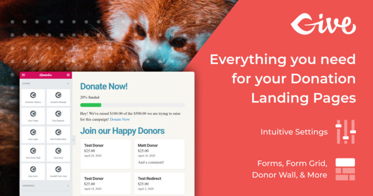 GiveWP Donation Widgets for Elementor: Everything you need for your Donation landing Pages.