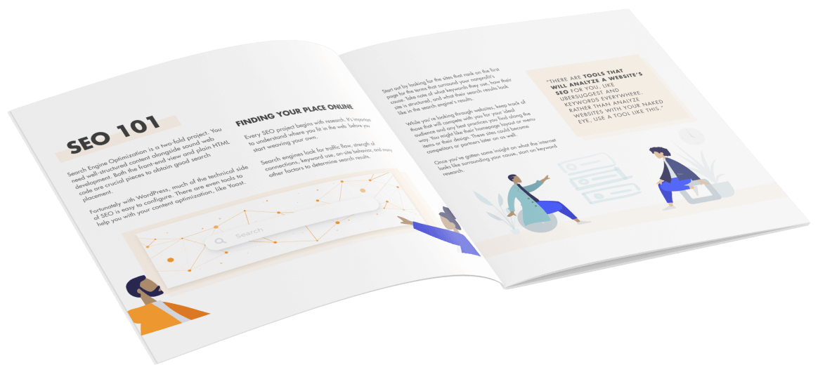 The inside of the eBook shows an SEO 101 section with details about how to find your place online.