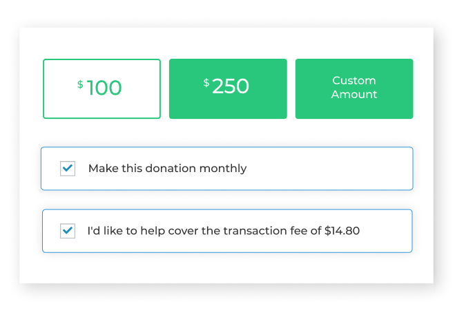 Asking donors to cover processing fees when they give is done through a simple checkbox, similar to the one used for recurring donations for subscription giving.