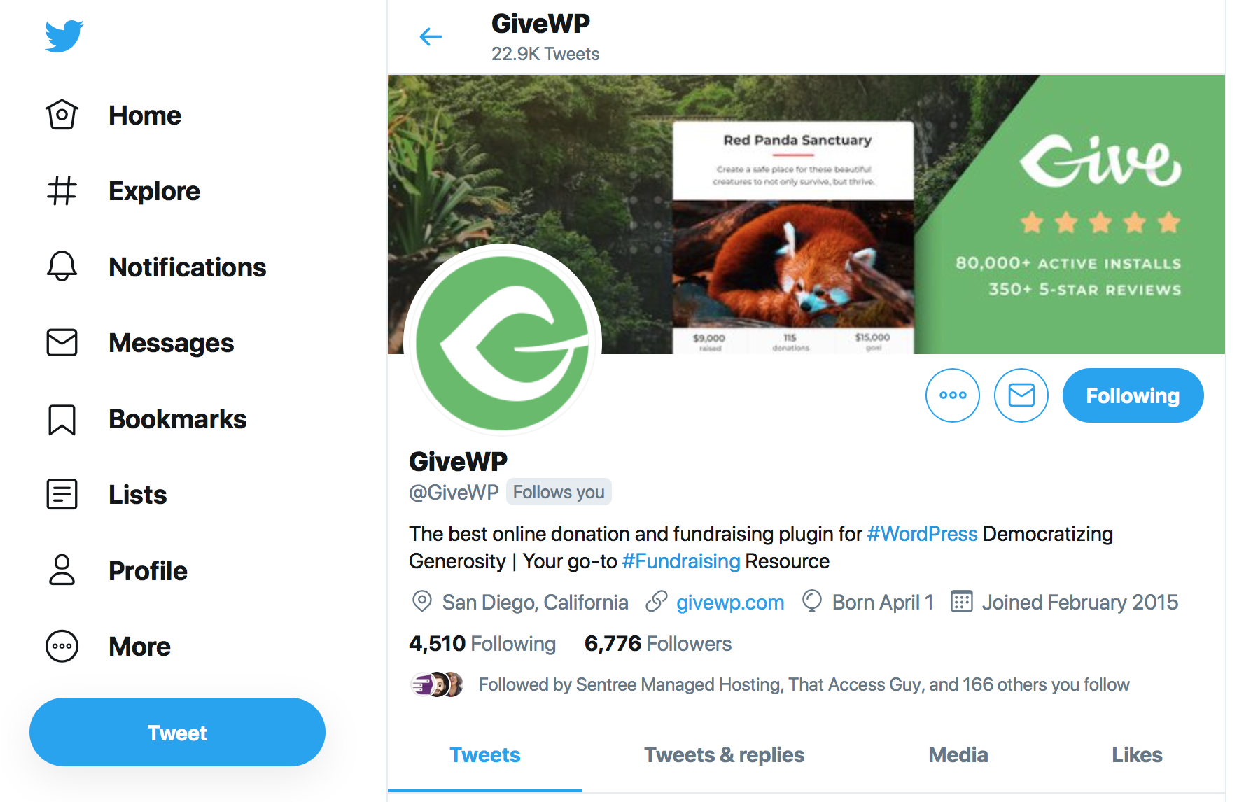 The GiveWP Twitter page has a custom header photo, the Give logo as a profile photo, a short bio with a strategic hashtag, a number of lists, and a collection of moments.
