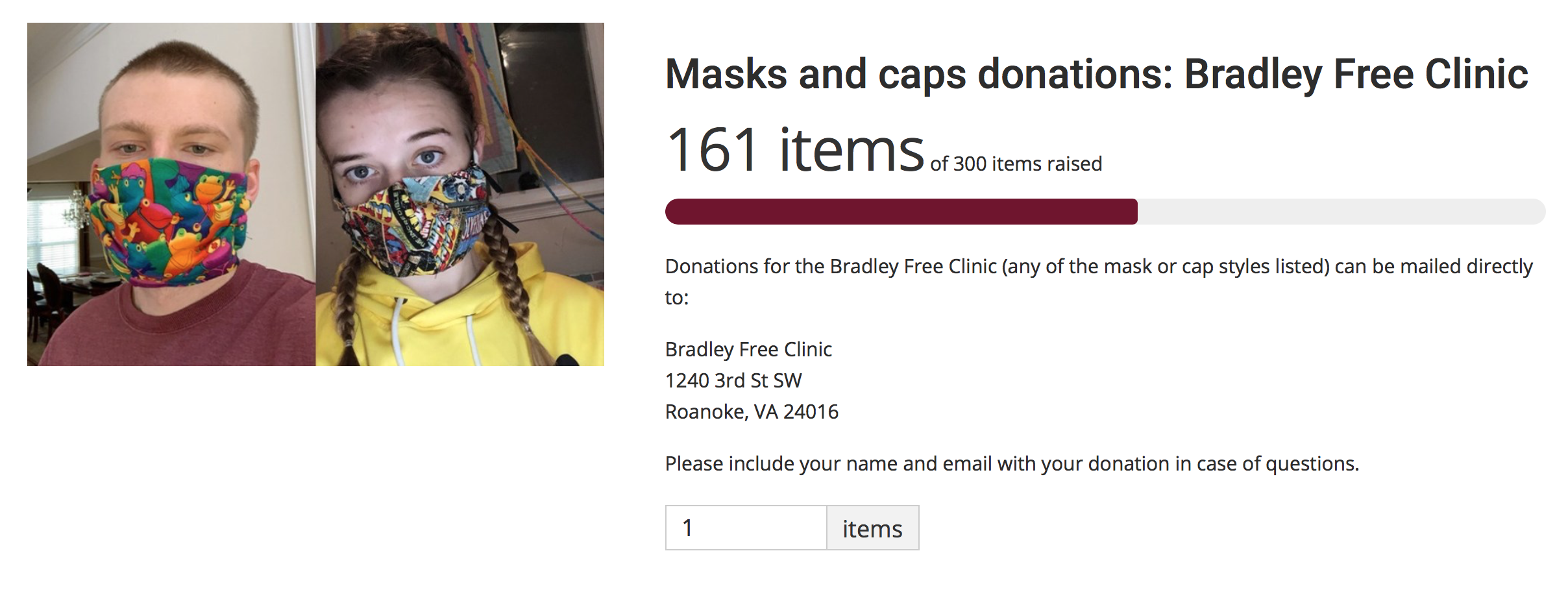 The Maroons Make Masks donation forms asks for items instead of monetary donations.