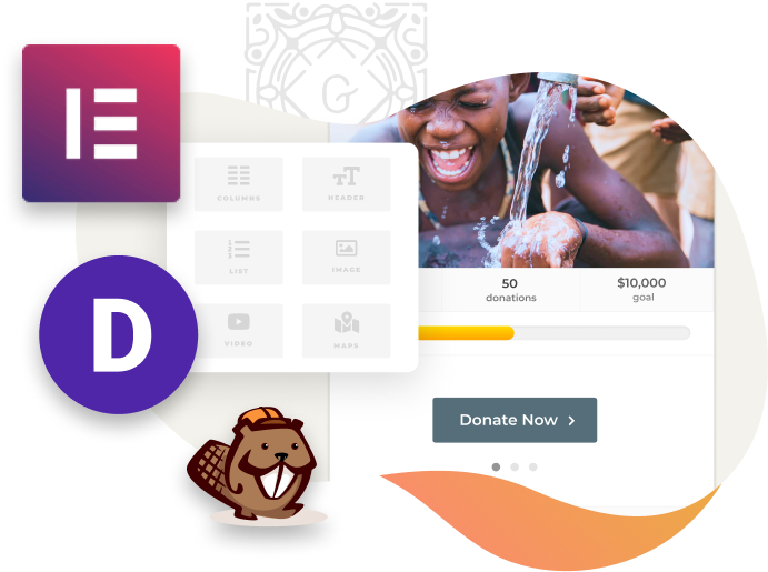 GiveWP donation forms are compatible with most page builders, including Beaver Builder, Divi, and Elementor.
