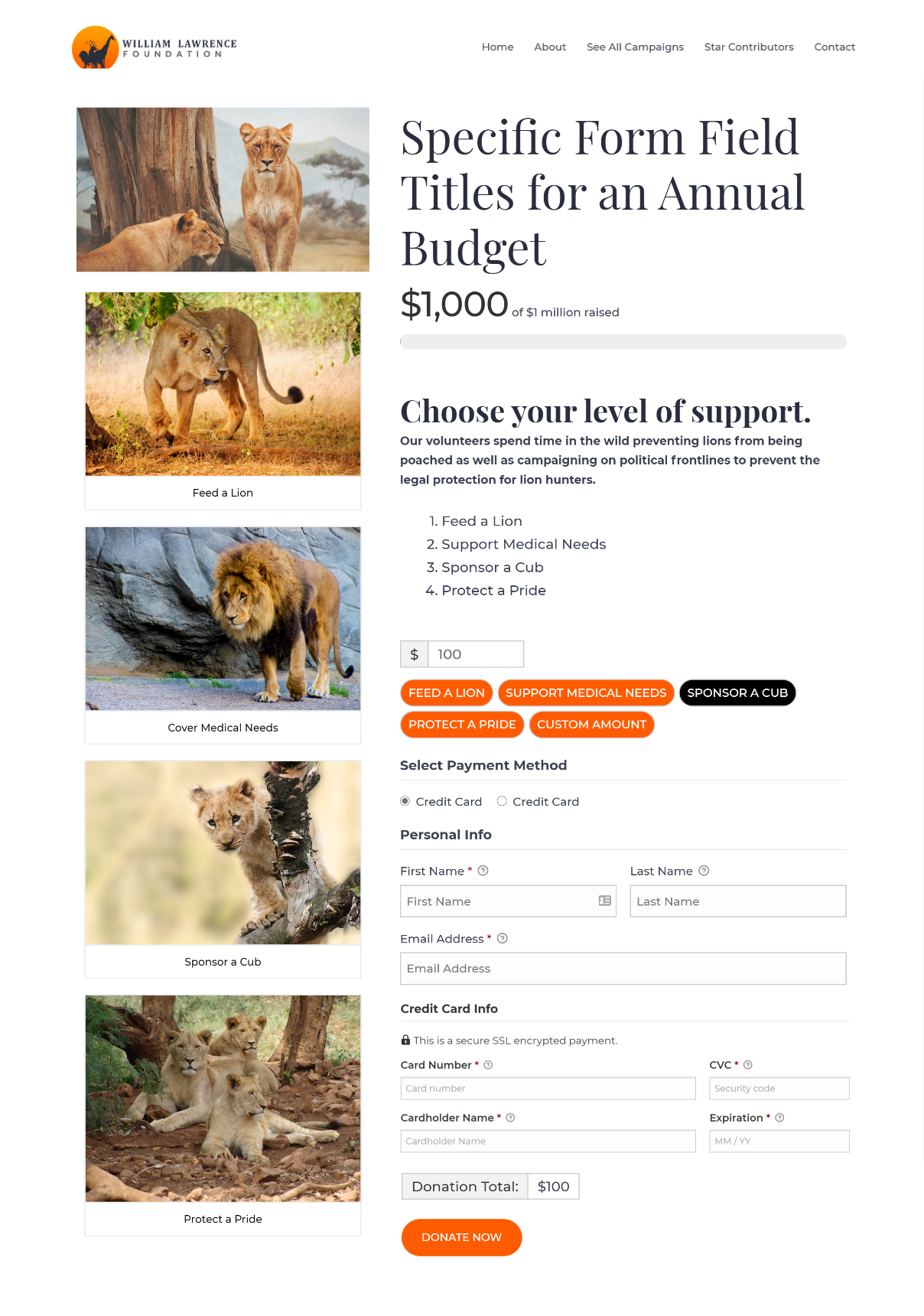 GiveWP campaign with images in the sidebar, showing having raised $1000 of 1 Million as a goal