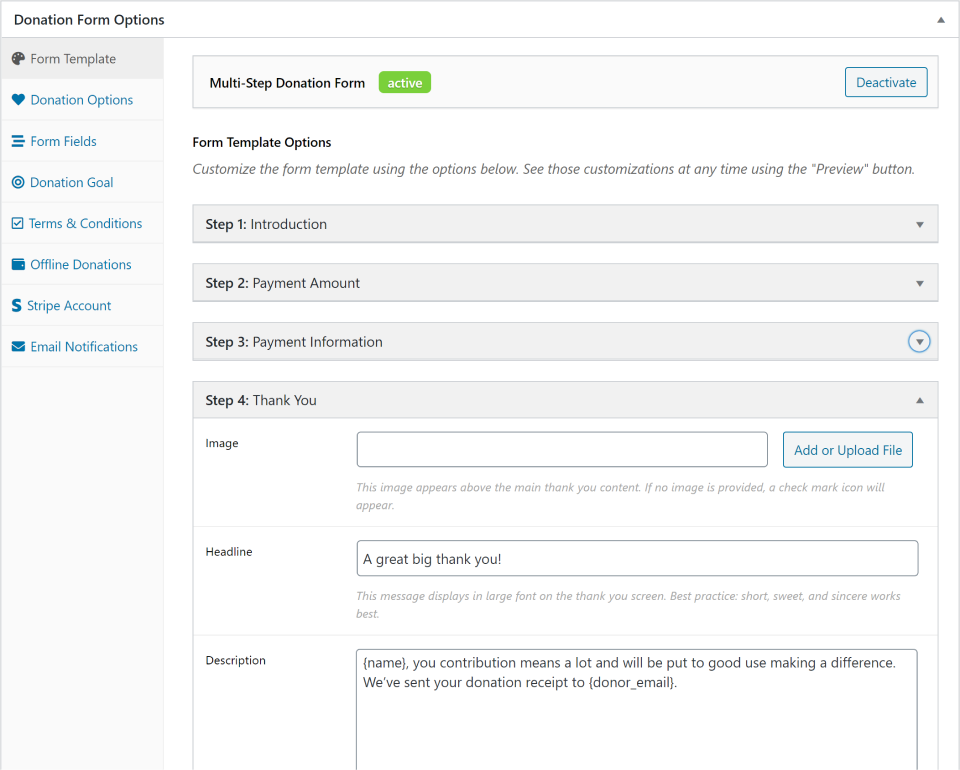 """Enabling the Multi-step donation form in the """"Form Template"""" tab."""