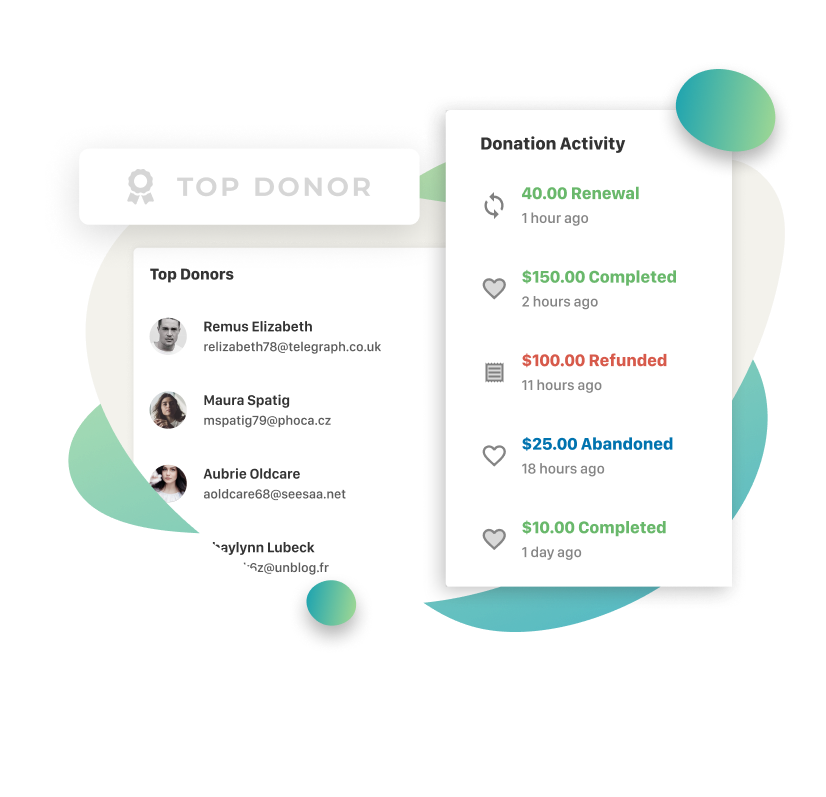 Top donors and recent donation activity are included in your donation report dashboard.