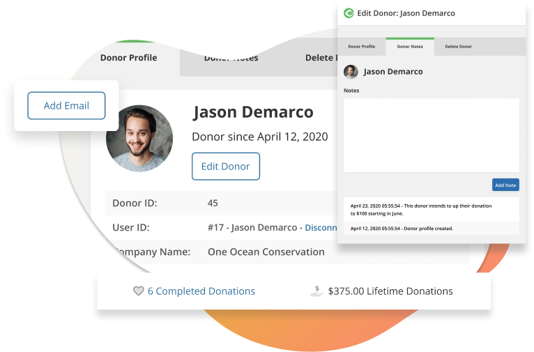 Edit your donors' profile details, add notes, and keep track of their donation history.