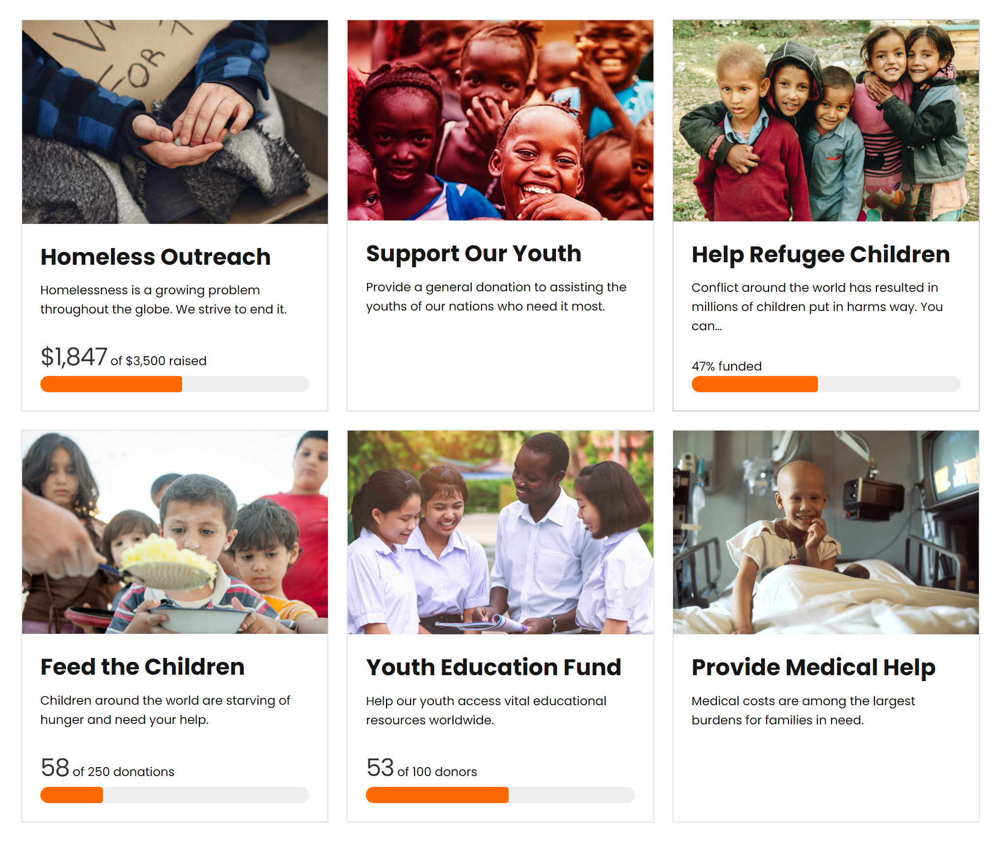 Each piece of the form grid funds a different program and has its own fundraising progress goal bar.