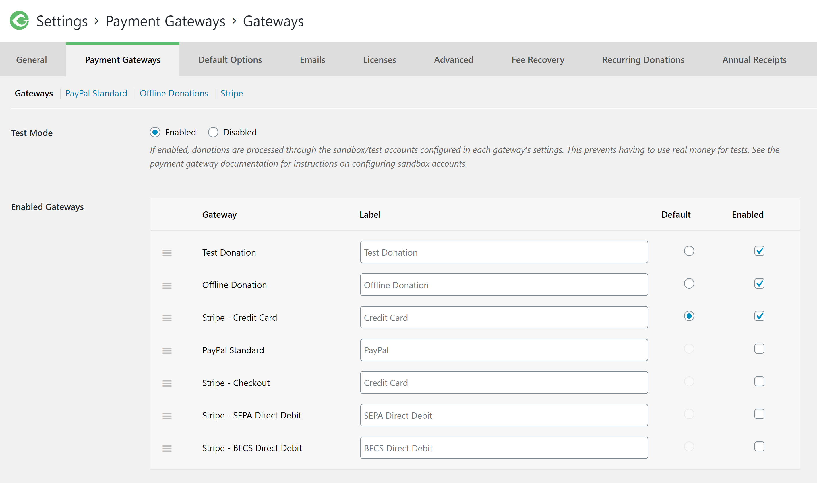 Find the payment gateway options in GiveWP to activate Stripe as your default donation payment option.