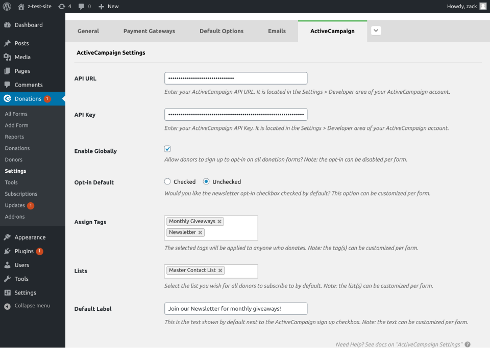 activecampaign global setting for givewp
