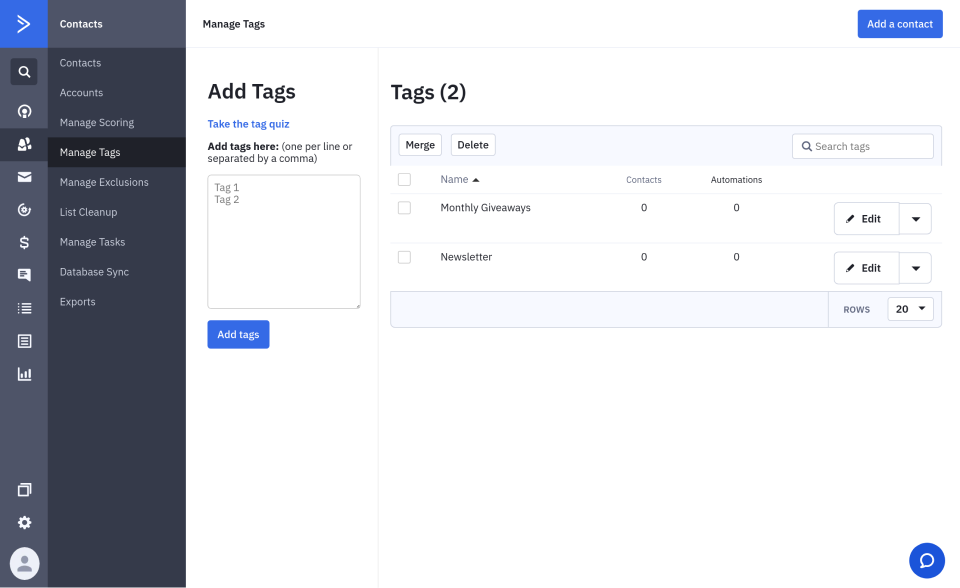 activecampaign creating tags for donors
