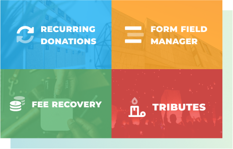 Premium add-ons for GiveWP include Recurring Donations, Form Field Manager, Fee Recovery, and Tributes.