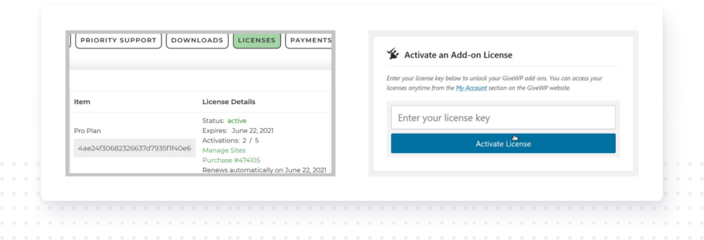 The GiveWP license key found in your customer account should match what you put in your WordPress admin settings panel.