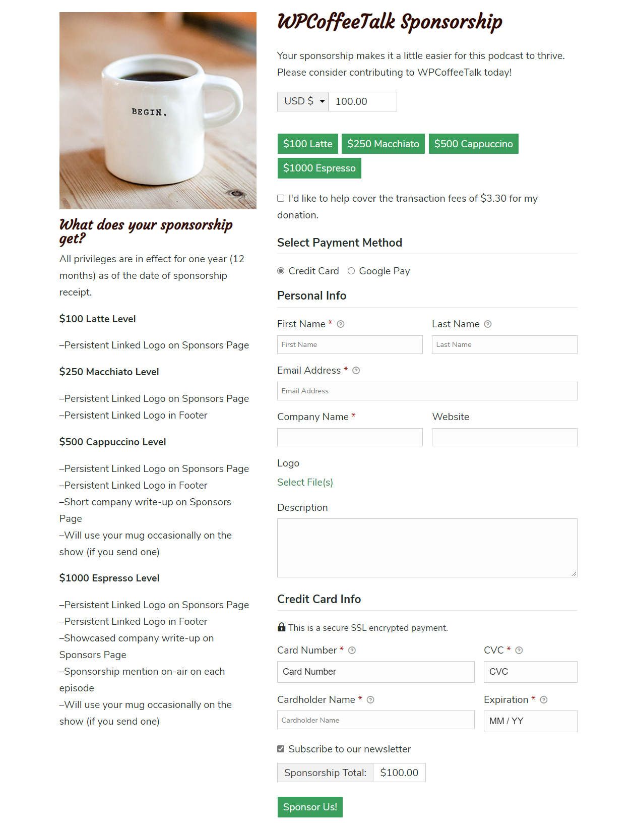 The WP Coffee Talk sponsorship form shows any potential sponsor what they get out of their funding alongside the giving options.