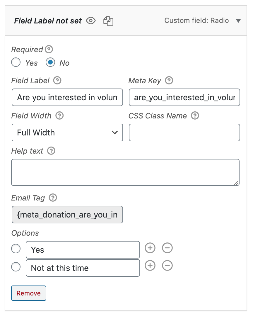 Radio Button Setup in Form Field Manager