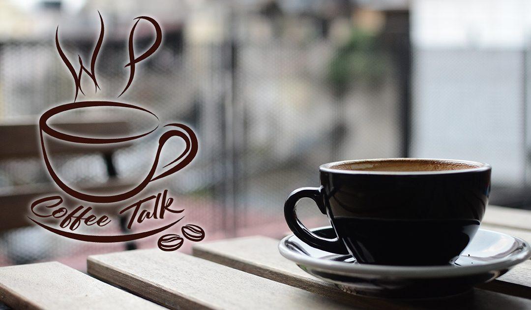 WP Coffee Talk logo and coffee cup image.