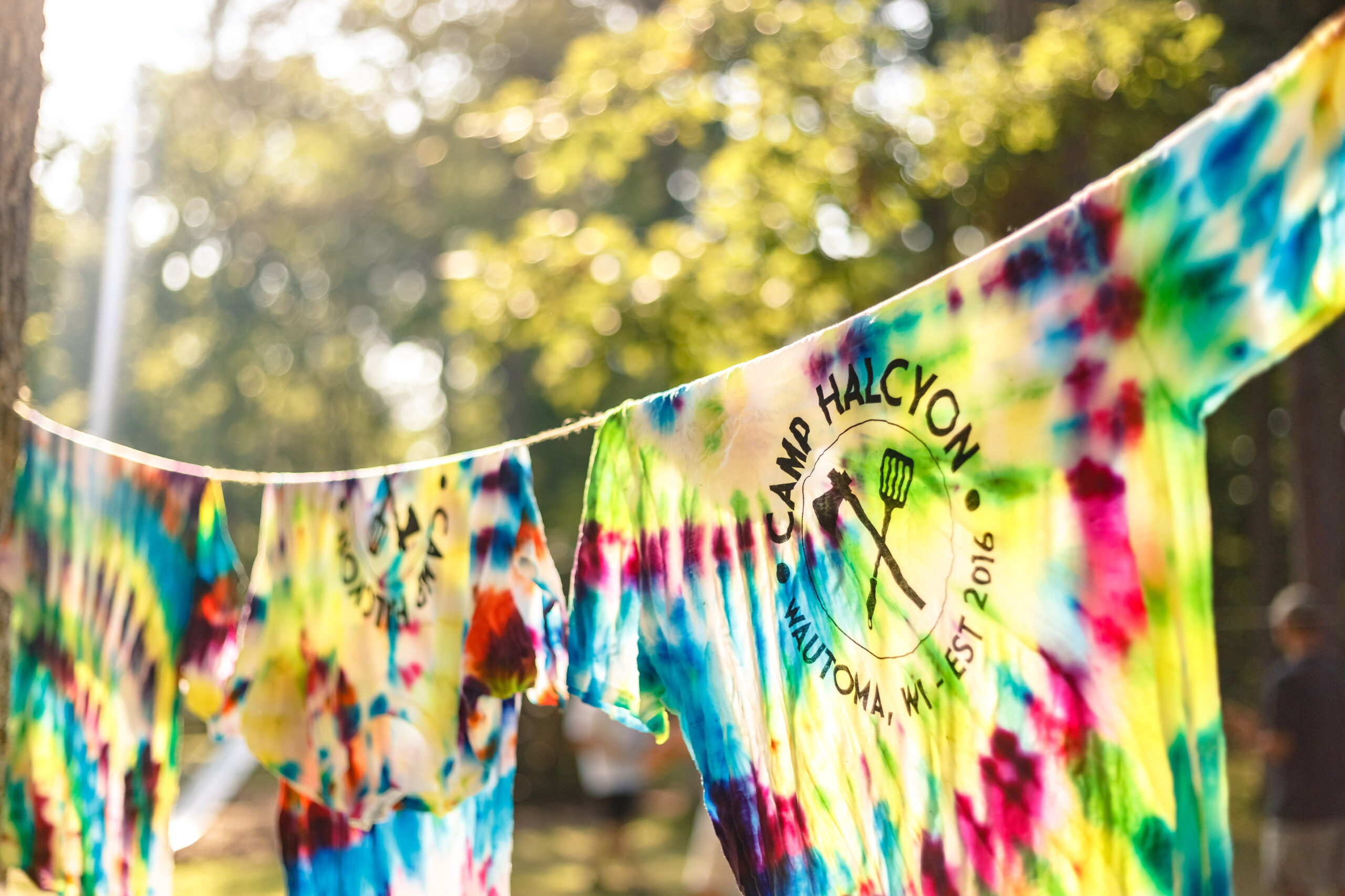 Tie dye t-shirts at Camp Halcyon