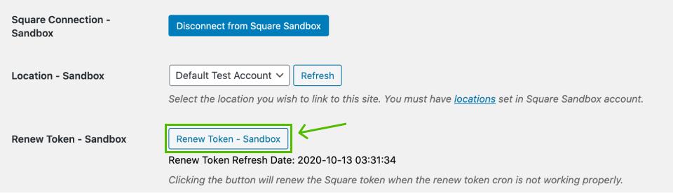 the renew token for Square Sandbox