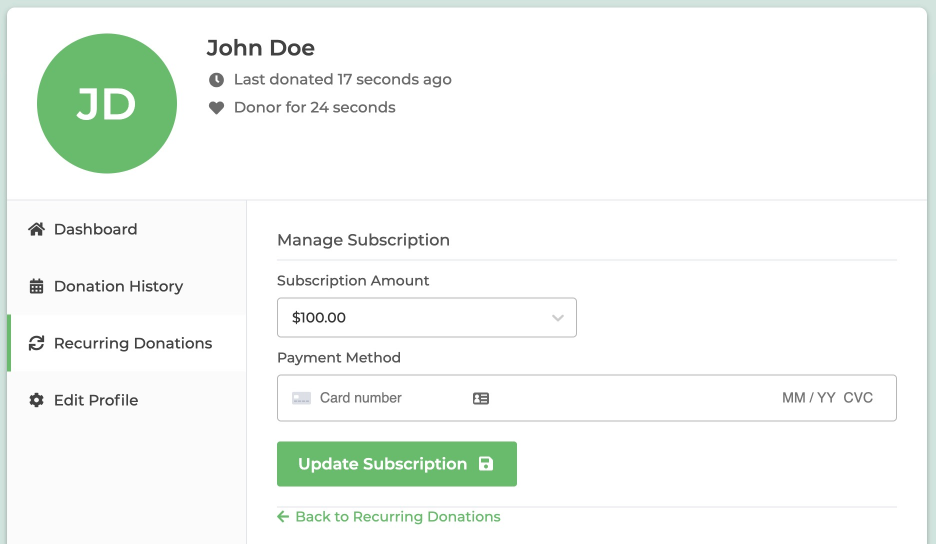 Editing the subscription using the GiveWP Donor Dashboard