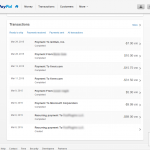 PayPal Transactions Screen
