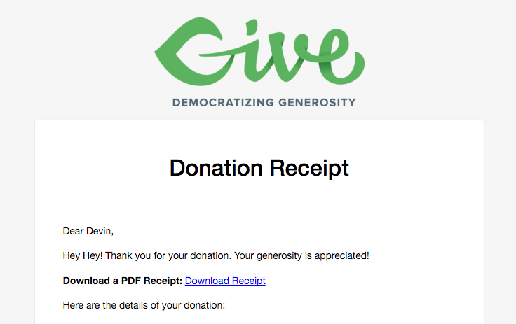 A Give Donation Receipt Email with PDF Receipt