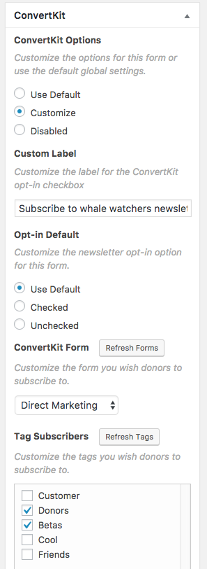 The ConvertKit Metabox Per Form Options