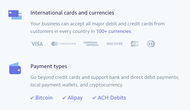 Accept international cards and currencies