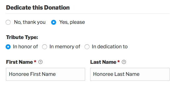 A donation form displaying tribute options