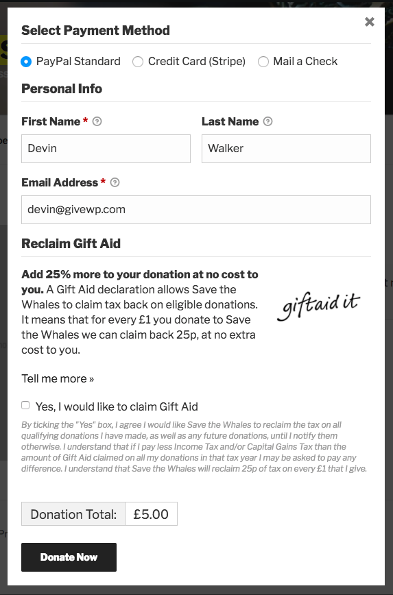 The Gift Aid fieldset within a donation form.