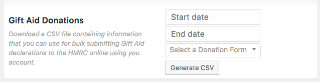 Gift Aid bulk form export
