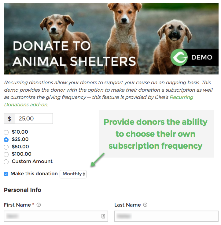 Donors can choose whether to make a donation recurring and also select the giving frequency.