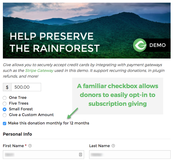 A familiar checkbox allows donors to easily opt-in to subscription giving