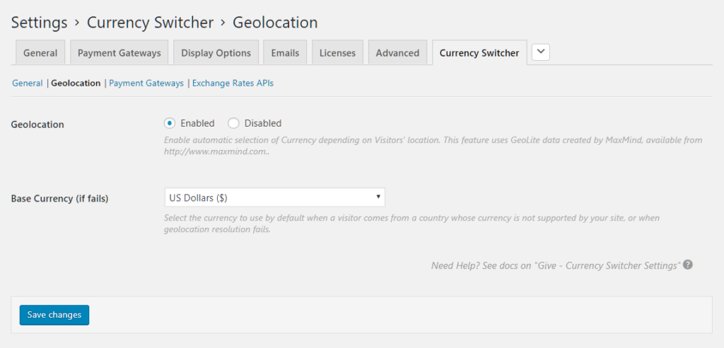 Geolocation settings on dashboard.