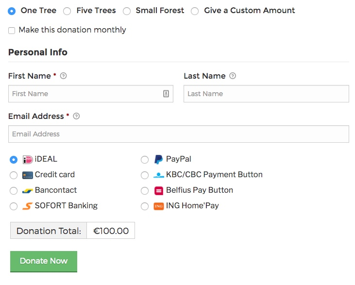 Select multiple payment gateways right within the donation form.